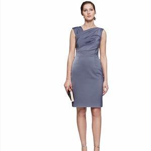 REISS Tania One Shoulder Amparo Blue Satin Dress
